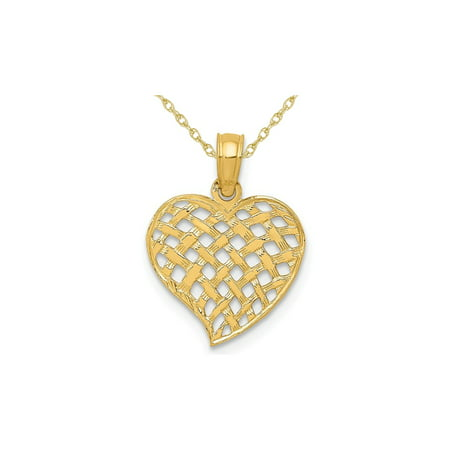 Weave Yellow Necklace - 14K Yellow Basket Weave Heart Pendant Necklace with Chain