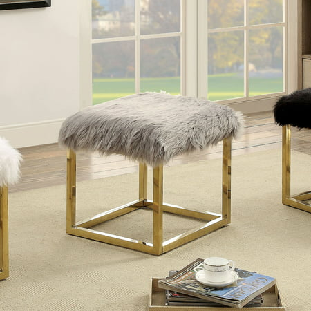 Tremendous Furniture Of America Euna Ii Contemporary Faux Fur Small Bench Multiple Colors Walmart Com Unemploymentrelief Wooden Chair Designs For Living Room Unemploymentrelieforg