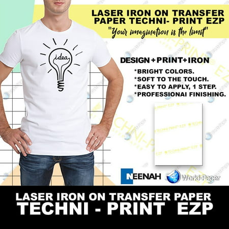 Laser Heat Transfer Paper, for Light fabric - Techni Print EZP- 10 Sheets - 8.5
