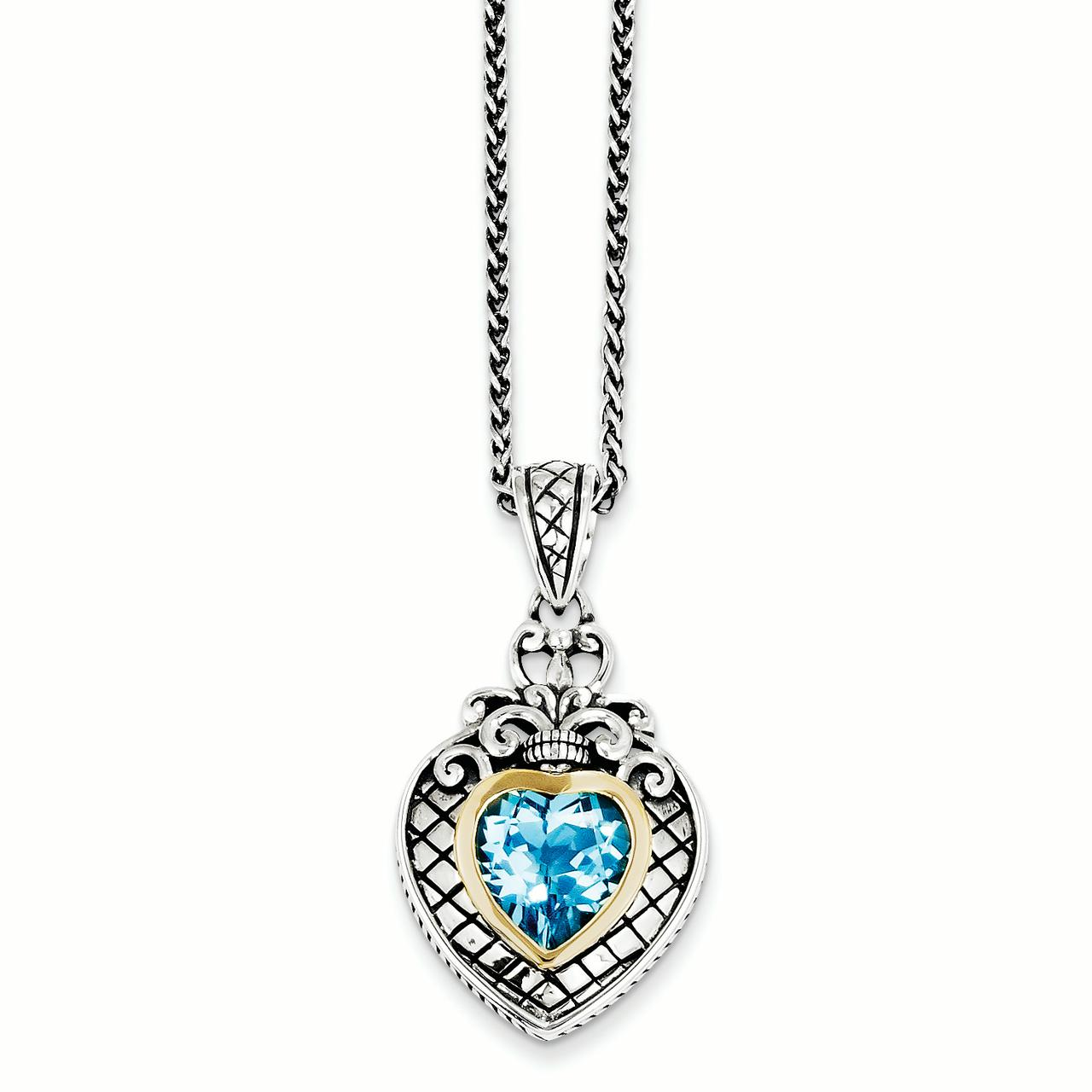 Sterling Silver w 14k Swiss Blue Topaz Heart Necklace by Saris and Things QG