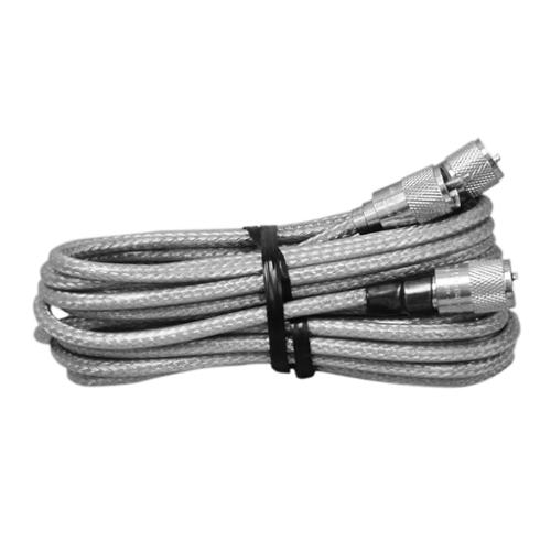 18ft Clear Mini 8 Coax Cable with Soldered PL-259 Connectors 50 Ohm RG8X