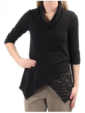 437bd9eb0f6ef Product Image BCX Womens Black Lace 3 4 Sleeve Cowl Neck Faux Wrap Wear To  Work Top