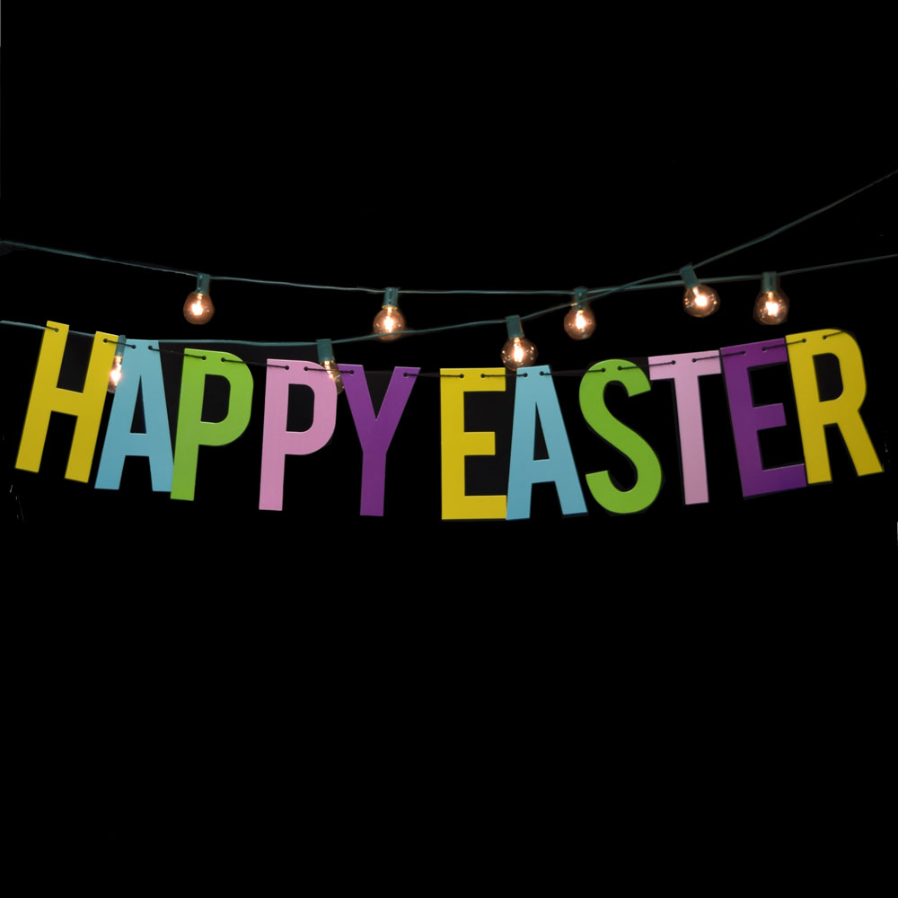 Quasimoon Happy Easter Colorful Party Paper Letter Garland Banner (4FT-9FT) by PaperLanternStore