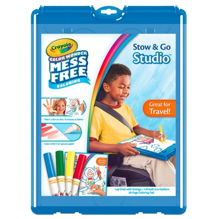 Crayola Color Wonder Stow And Go, 30 Page Coloring Pad, 4 Color Wonder Markers, 1 Lap Desk With Storage - Crayola Color Wonder Markers