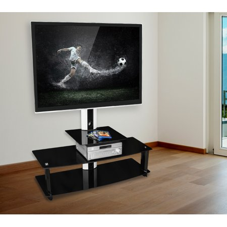 Mount-It! TV Stand with Mount, Entertainment Center for Flat Screen TVs Between 32 to 60 Inch, 3 Glass Shelves and Aluminum Columns (MI-869) (60 Inch Tv Base Stand)