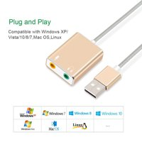 USB Audio Adapter External Stereo Sound Card with 3.5mm Headphone and Microphone Jack gray