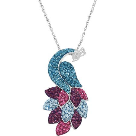Swarovski Elements Sterling Silver Peacock Pendant, 18