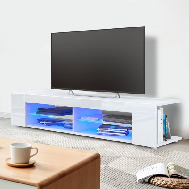 Fdit Tv Stand Cabinet 53 White Tv Cabinet High Gloss Front Tv Stand Table With Blue Led Light For Living Room Walmart Com Walmart Com