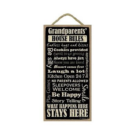 GRANDPARENTS' HOUSE RULES Primitive Wood Hanging Sign 5