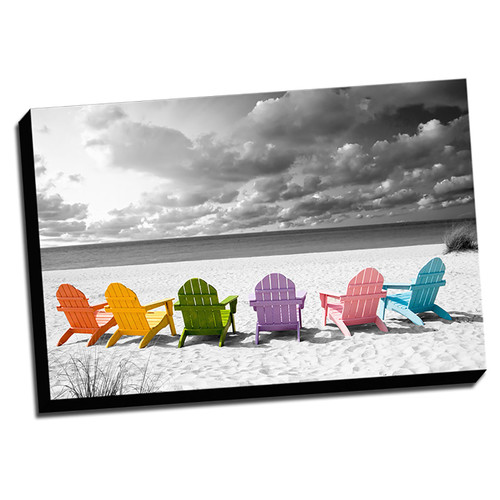 Picture it on Canvas 'Beach Chairs Color Splash' Photographic Print on Wrapped Canvas