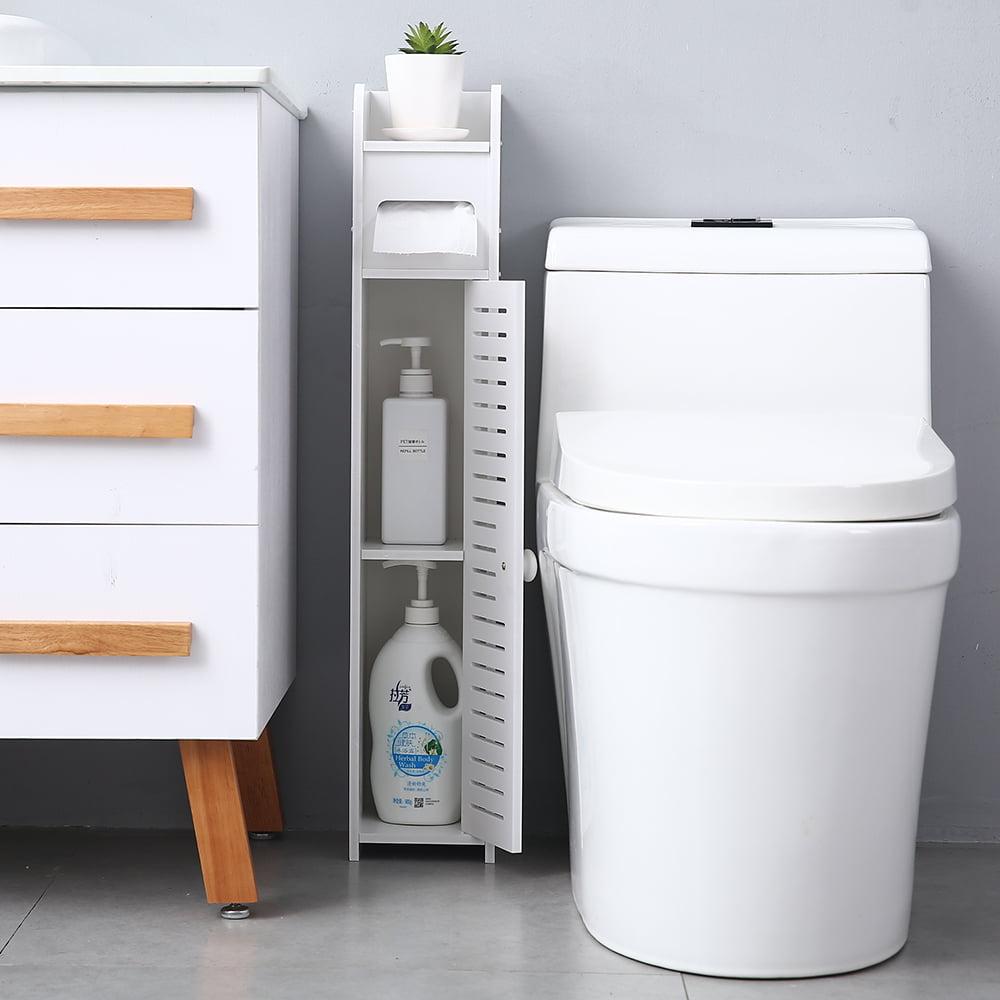 Topcobe Small Bathroom Storage Corner Floor Cabinet With Doors And Shelves Thin Toilet Vanity