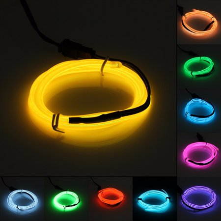 3 Colors On Clearance 1M Flash Flexible LED Neon Light Glow El Wire Strip Tube Wire Rope Kit For Wedding Party Christmas Decorative - Glow Led Products