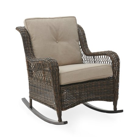 Belham Living Montauk Resin Wicker Outdoor Rocking Chair with Cushions Grand Wicker Rocking Chair