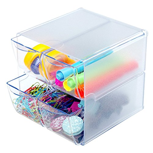 Source One Deluxe Desk Organizer Frosted Acrylic 6x6x6 Inch - Cube (6 Pack, 4-Drawer)