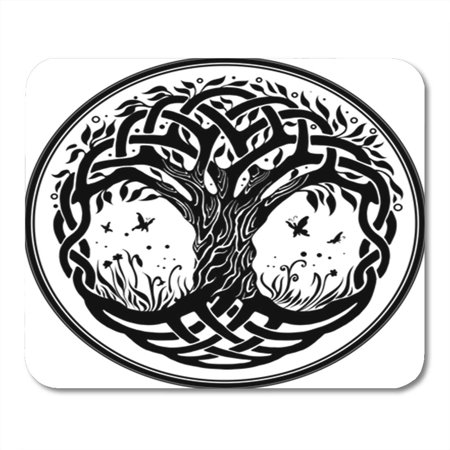 JSDART Knot Round Celtic Tree of Life Black Branches Floral Mousepad Mouse Pad Mouse Mat 9x10 inch - image 1 de 1