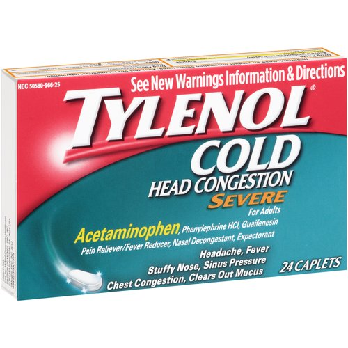 Tylenol Cold Head Congestion Severe Caplets, 24 Count
