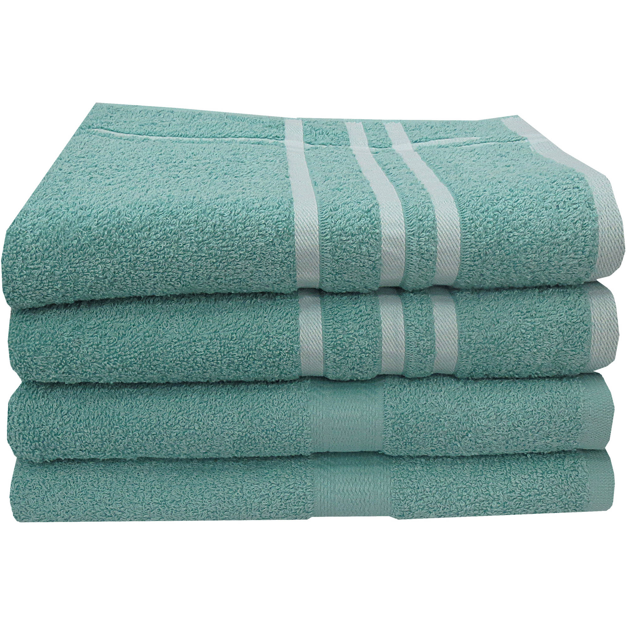 Mainstays Basic 4-Piece Bath Towel Set, Solid and Stripes