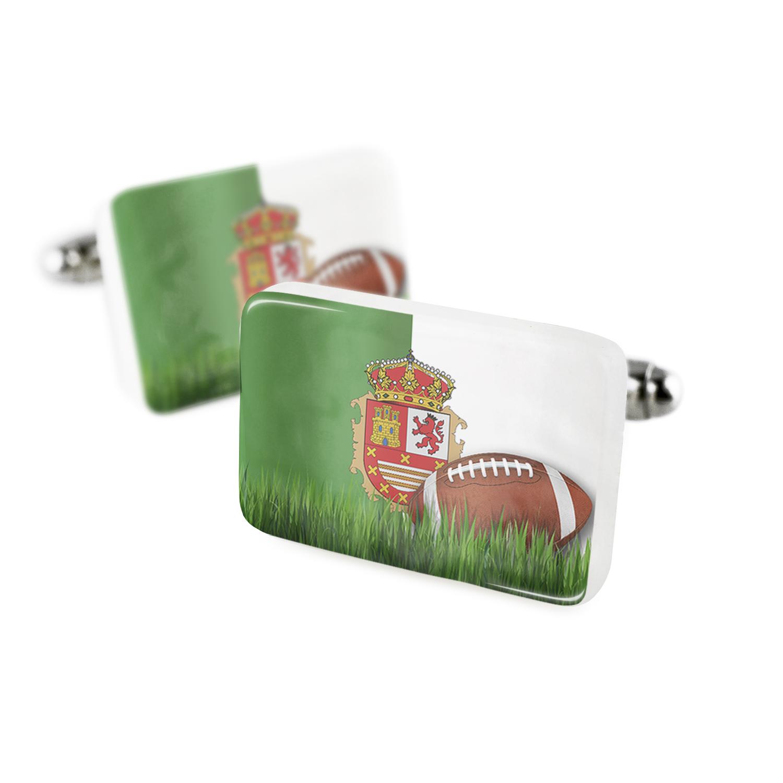Cufflinks Football with Flag Fuerteventura region Spain Porcelain Ceramic NEONBLOND