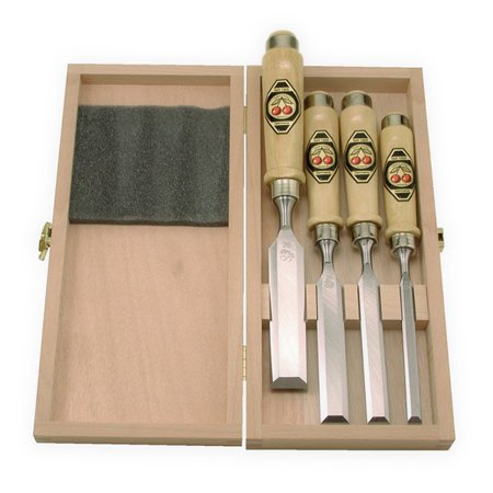 - Two Cherries 5009050 Set of Four Chisels, Wood Box, Unpolished Blades