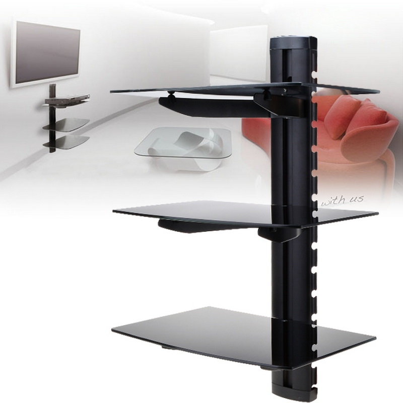 3 Tier Dual Shelf Wall Mount Glass Bracket Under TV Component Cable Box DVR DVD