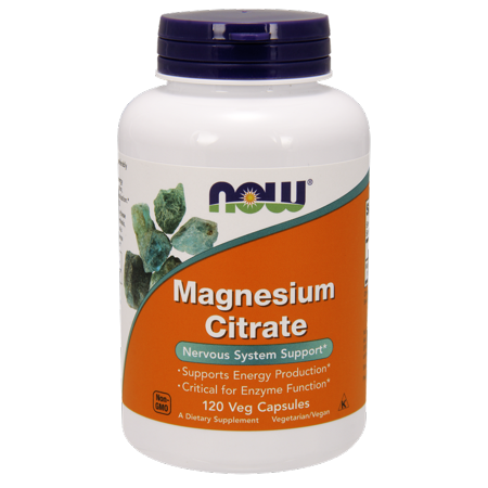 NOW Magnesium Citrate Vegetable Capsules, 120 Ct