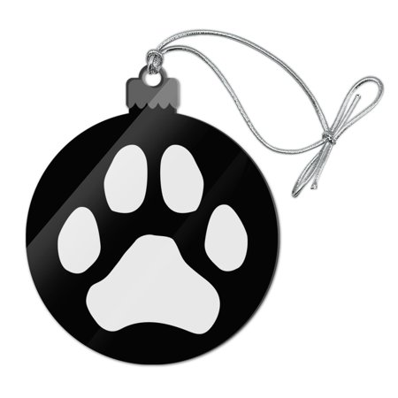 Christmas Tree Prints (Paw Print Dog Cat White on Black Acrylic Christmas Tree Holiday Ornament)