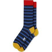 FUN Socks Men's Bamboo Stripe Dress Crew Socks, Blue/Red/Mustard
