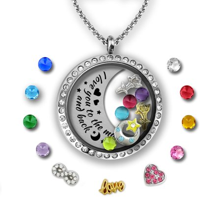 I Love You To The Moon And Back Necklace | Charms & Locket Jewelry Set | Mother Daughter Necklace | Charm Necklace for Girls | Mother Daughter Gifts Floating Charm Necklace | Father daughter Gifts