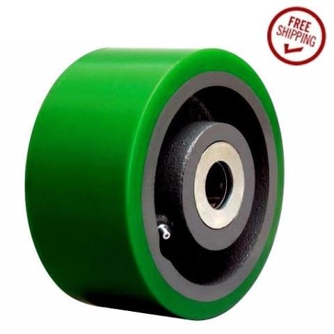 """Heavy Duty 6"""" x 3"""" Polyurethane Wheel and 3/4"""" ID Green Hardwood Floor Safe"""
