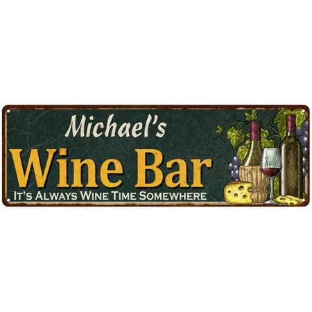 Michael's Wine Bar Green Chic Sign Home Kitchen Décor 6 x 18 High Gloss Metal 206180001209 ()