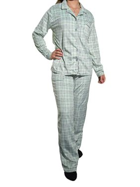 Aria Collection Women's Sueded Microfleece 2-Piece Pajama Set (Mint Plaid, Small)