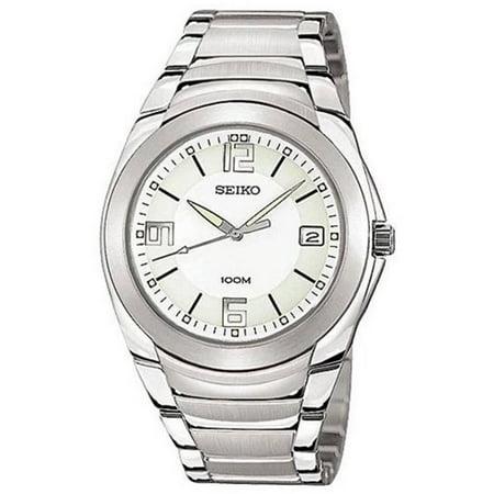 Seiko SGEB01 Men's White Dial Stainless Steel Bracelet Watch Seiko White Bracelet