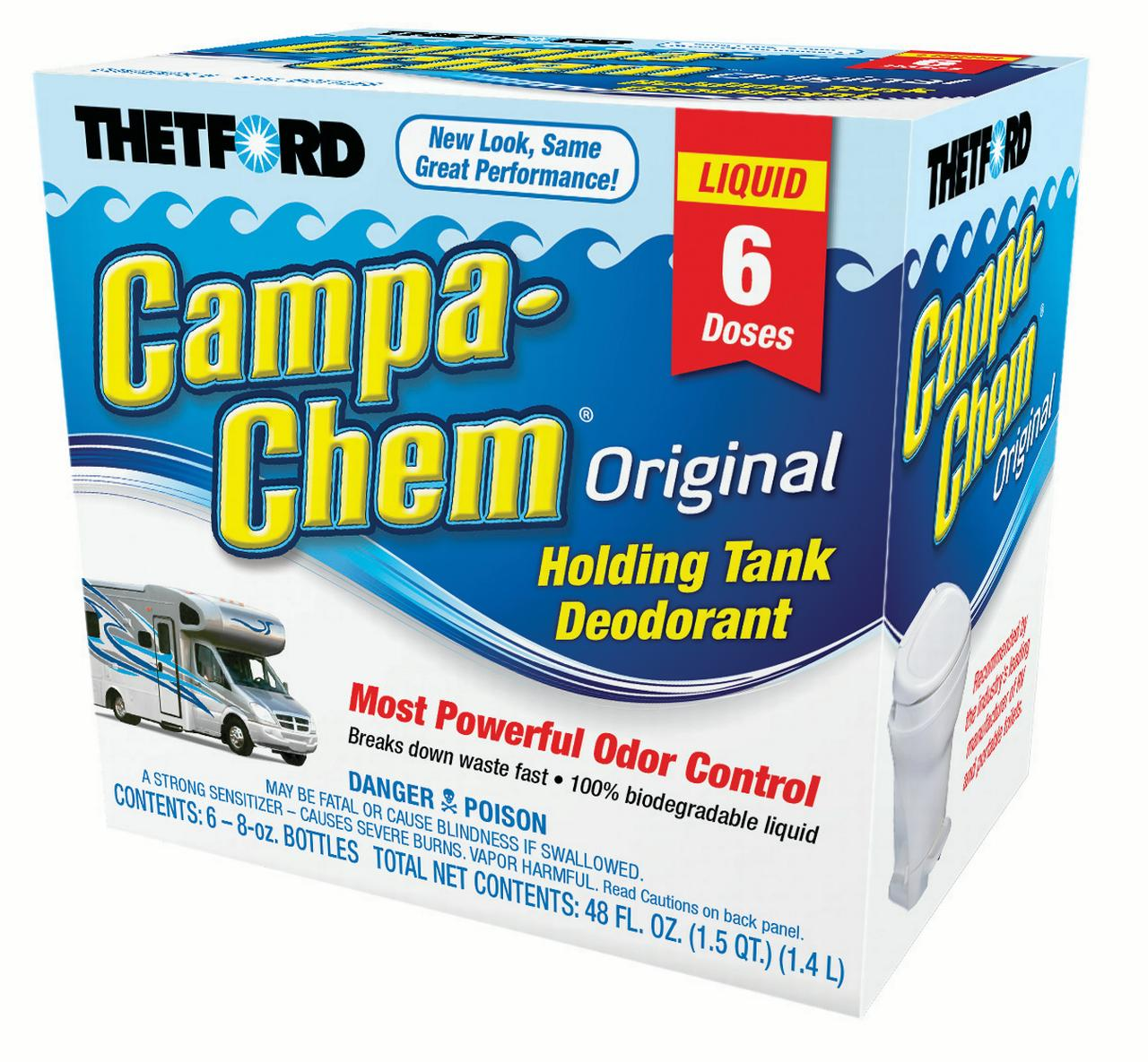 Campa-Chem RV Holding Tank Treatment - Deodorant / Waste Digester / Detergent - 6 x 8 oz pack - Thetford 13288