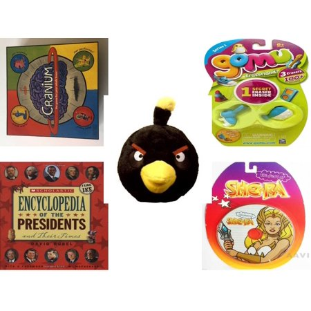 Children's Gift Bundle [5 Piece] -  2002 Cranium  - Gomu Eraserland Series 1 Erasers 3 Pack  - Angry Birds Black Bird  5