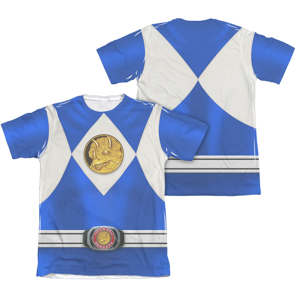 Power Rangers Men's  Blue Ranger Emblem  Sublimation T-shirt White