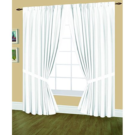 Editex Home Textiles Elaine Lined Pinch Pleated Window Curtain, 48 by 63-Inch, White