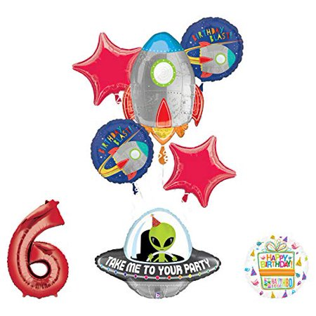 Mayflower Products Blast Off Space Alien 6th Birthday Party Supplies Balloon Bouquet Decoration