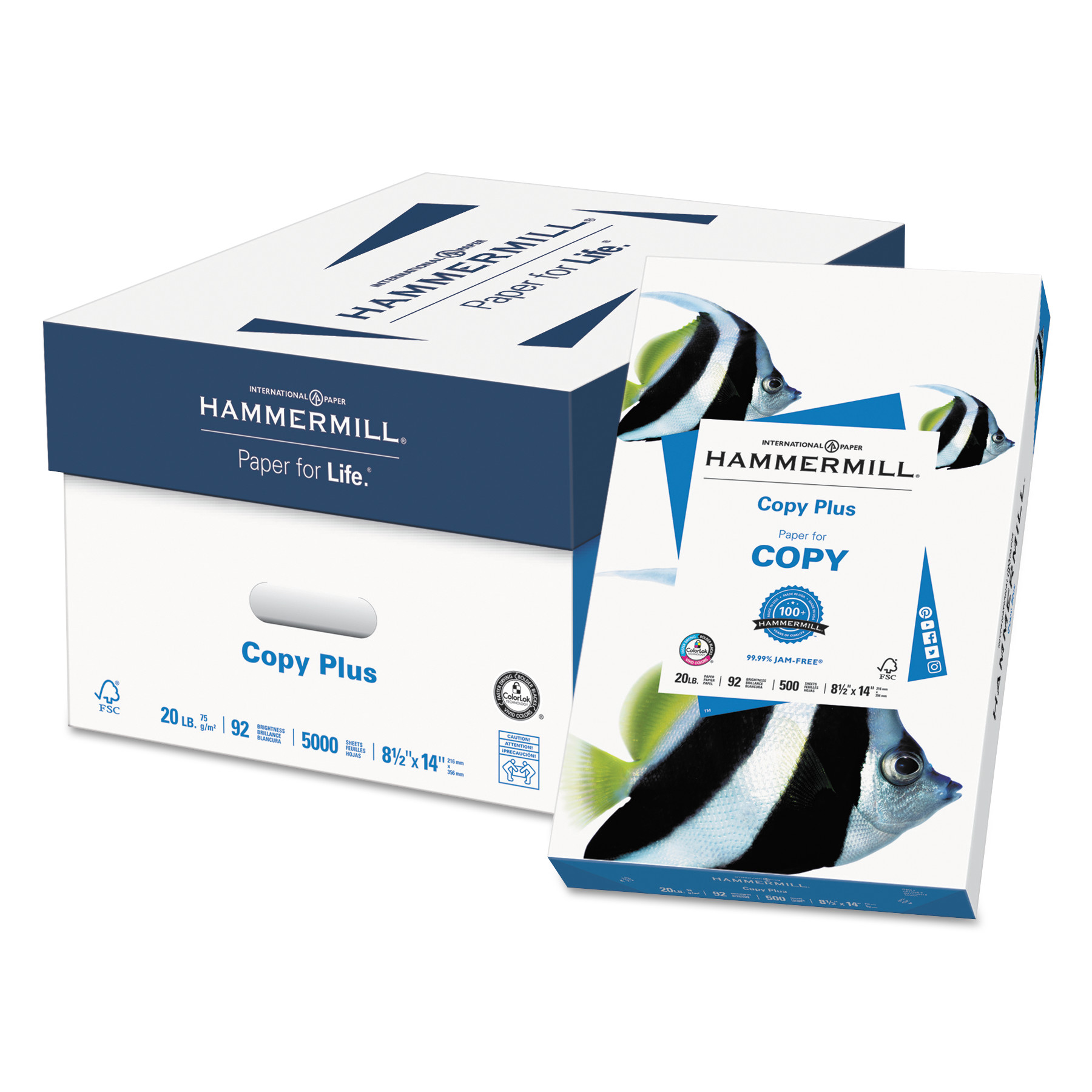 Hammermill Copy Plus Paper, 92 Bright, 20lb, 8-1/2 x 14, White, 500 Sheets/Ream -HAM105015