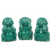 Ceramic Monkey No Evil Assortment Of Three Aquamarine