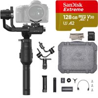 2019 DJI Ronin-S Essentials Kit for Mirrorless and DSLR Cameras, Comes 128GB Micro SD, Tripod, Gimbal Hook and Loop Strap, 1 Year Limited Warranty, Black(CP.RN.00000033.01)
