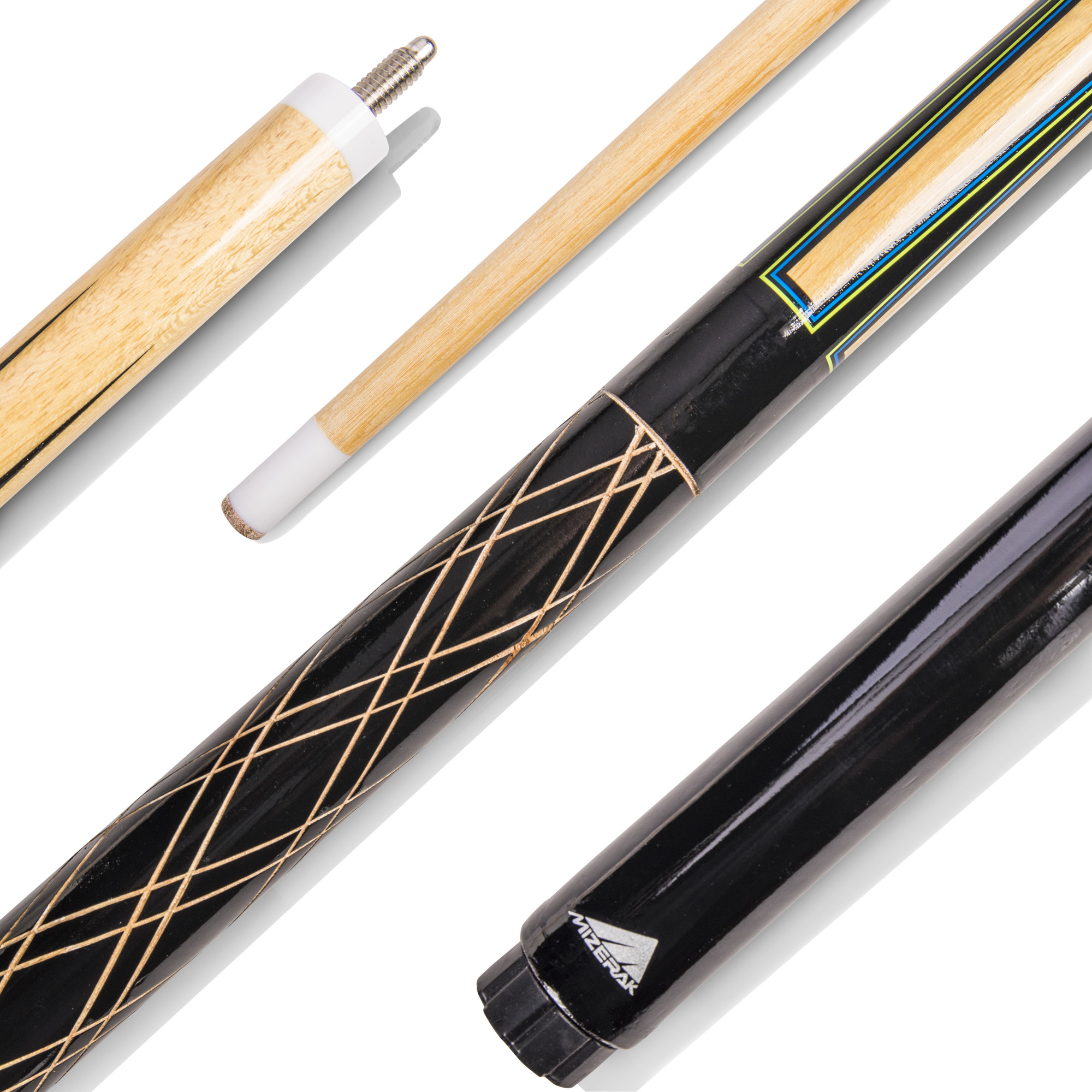 """Mizerak 57"""" House Cue (2-Piece) with 12mm Ferrule with Leather Tip, Hardwood Construction and High Gloss Finish"""