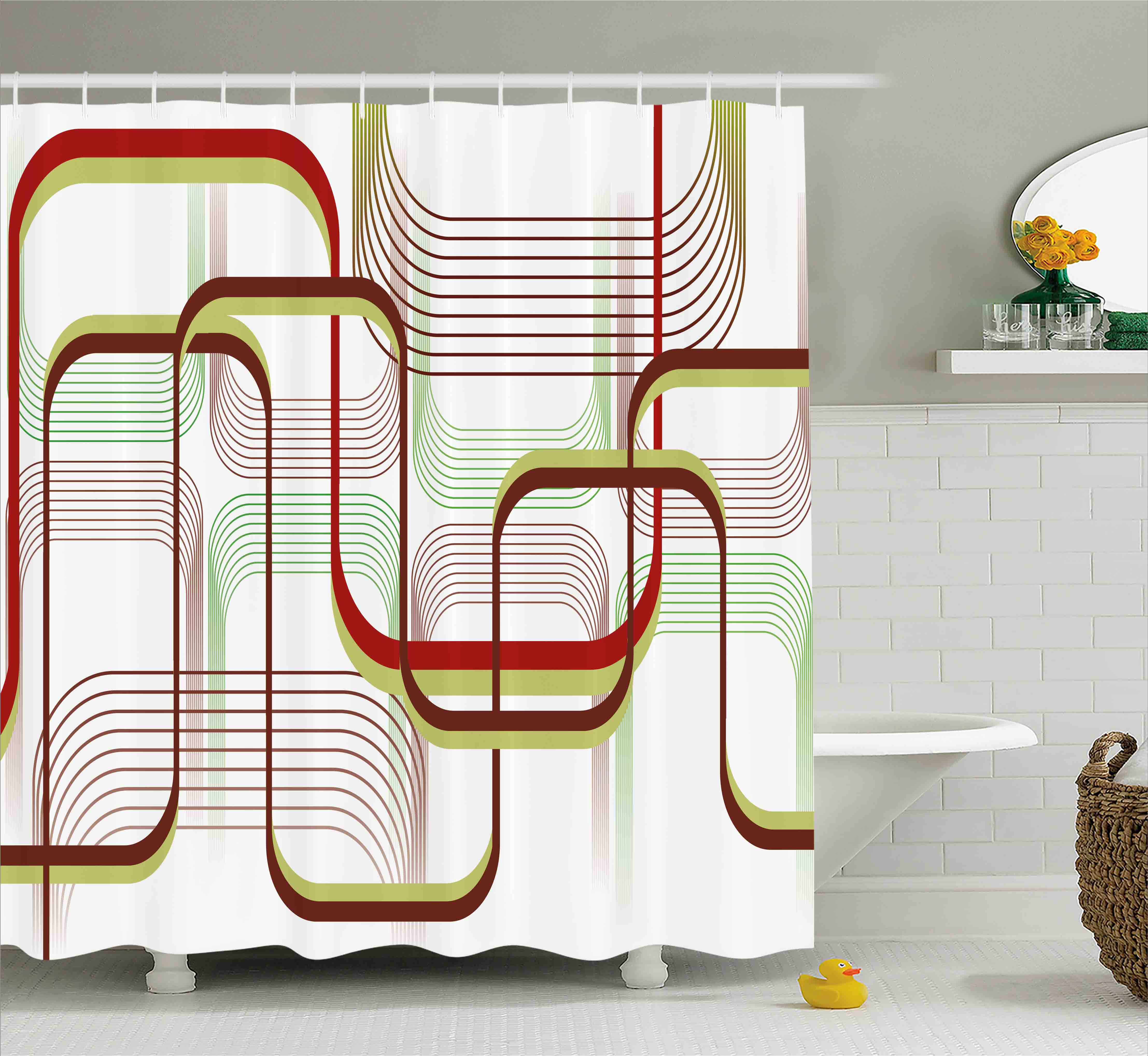 Modern Shower Curtain Geometric Contemporary Wavy Lines With Abstract Shapes Designs Art Image Fabric Bathroom Set With Hooks Khaki Burgundy White By Ambesonne Walmart Com Walmart Com