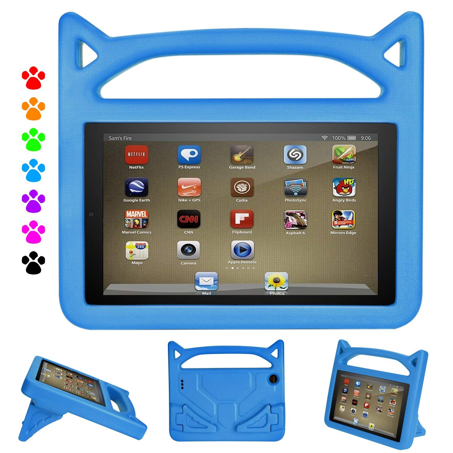 "iPad 9.7"" 2018 & 2017 Case, iPad Air 2/ Air Kids Case - Allytech Light Weight EVA Shock Proof Handle Convertible Stand Kids Friendly Protector Case for Apple iPad air 2/1,iPad 6th/ 5th Gen - Blue"
