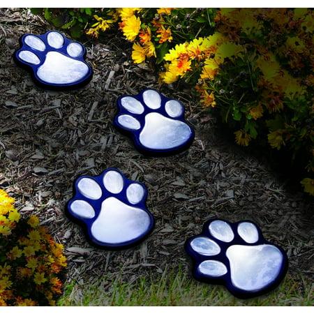 Brand New  NICE 4 solar dog animal paw print Lights garden lantern LED path 3