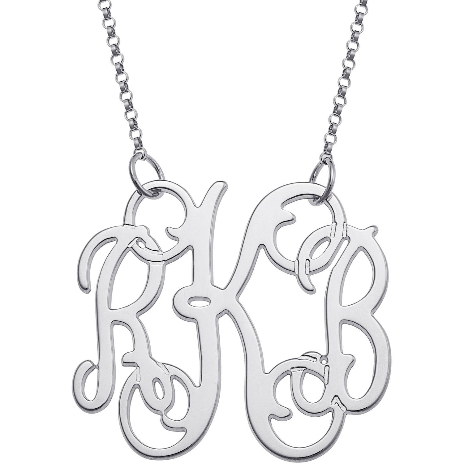Personalized Sterling Silver Fancy 3-Initial Monogram Necklace