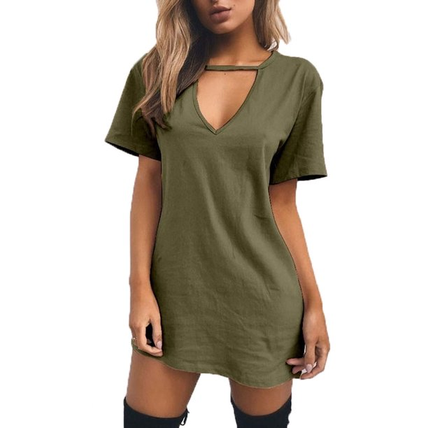Casual Short Sleeve Long T-shirt Dress Solid V-Neck Hollow Out Dresses for Women