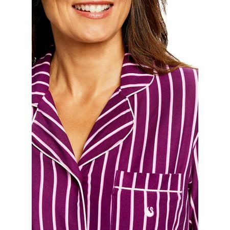 Gloria Vanderbilt Women's Button-Down Sleep Shirt   Stylish Striped Pajama Top M - image 1 of 7