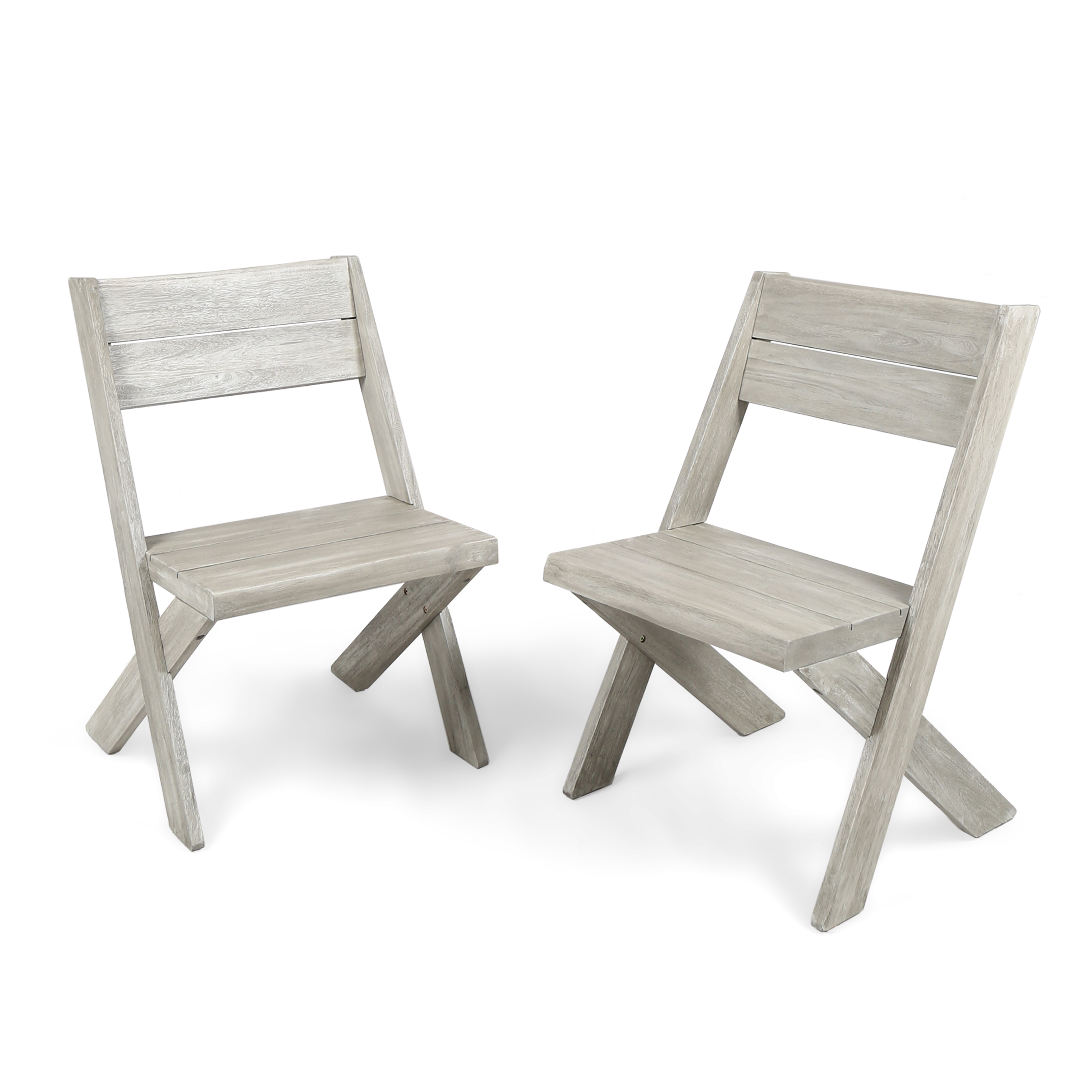 Emmy Outdoor Acacia Wood Chairs, Set of 2, Light Grey