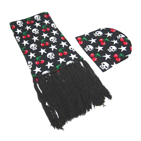 Black & White Skulls, Cherries & Stars Hat / Scarf Set
