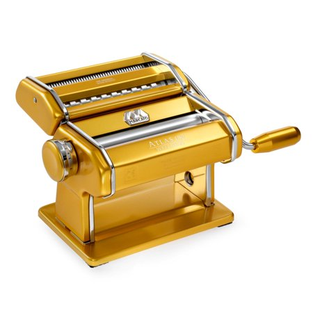Marcato Atlas Pasta Machine, Made in Italy, Stainless Steel, Gold, Includes Pasta Cutter, Hand Crank, and (Marcato Atlas Motorised Pasta Machine Gift Set)